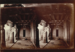 Interior view from the right of the verandah of Buddhist vihara, Cave XX, Ajanta